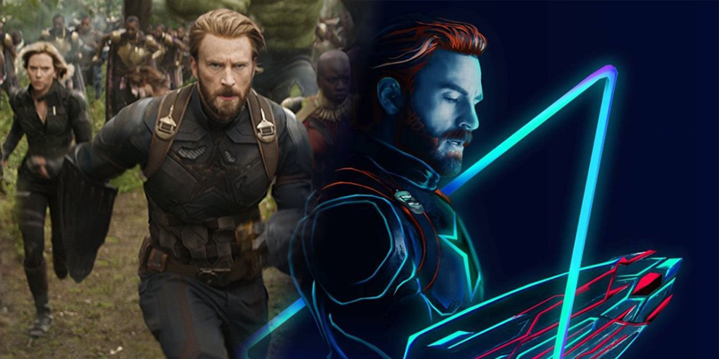 avengers: infinity war fan-made character posters go neon