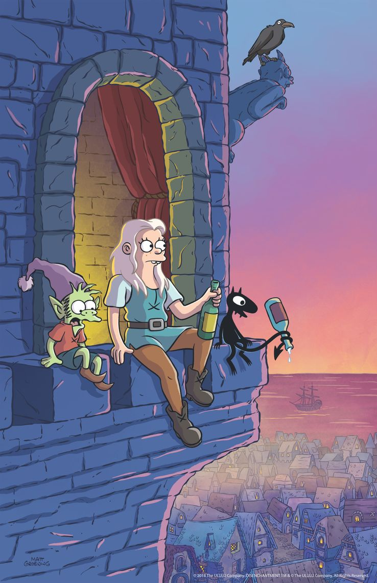 Disenchantment (Netflix) Group-sitting-on-ledge-vertical-fin-400dpi