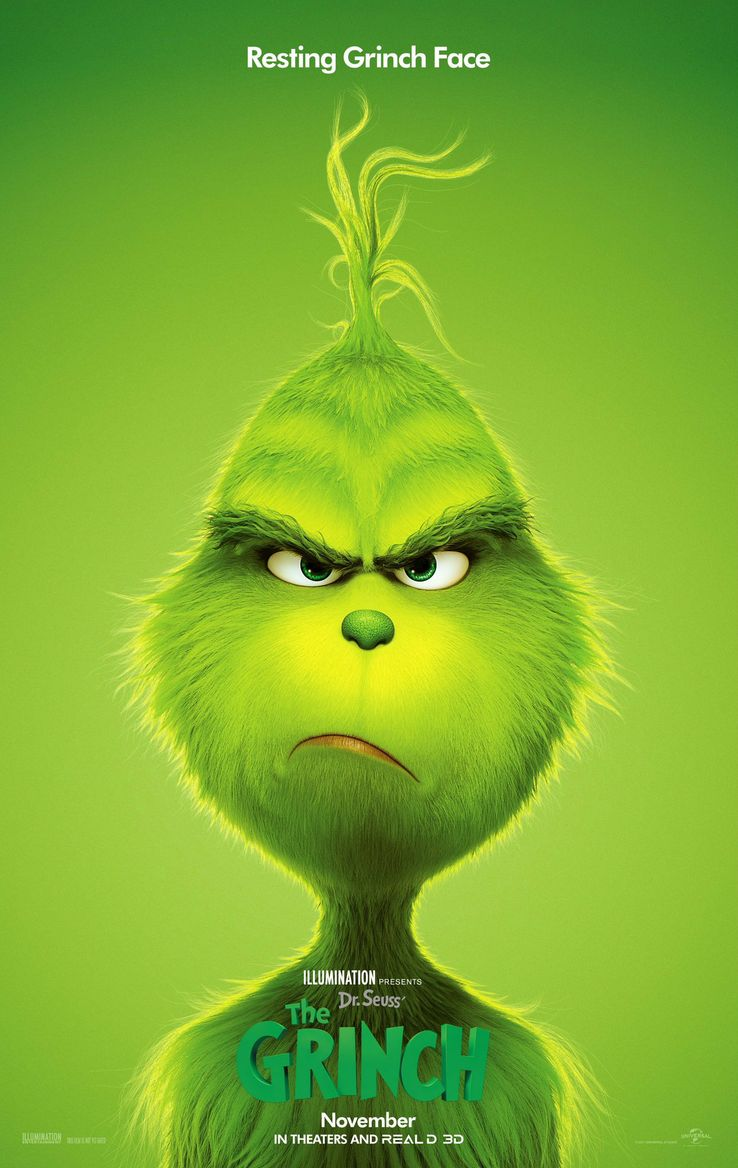How The Grinch Stole Christmas 1966 Movie Poster.The Grinch Trailer 2 Poster Beware Of Resting Grinch Face