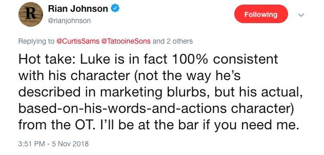 https://static1.srcdn.com/wordpress/wp-content/uploads/2018/11/Rian-Johnson-Luke-Skywalker-Last-Jedi-tweet.jpg?q=50&fit=crop&w=738