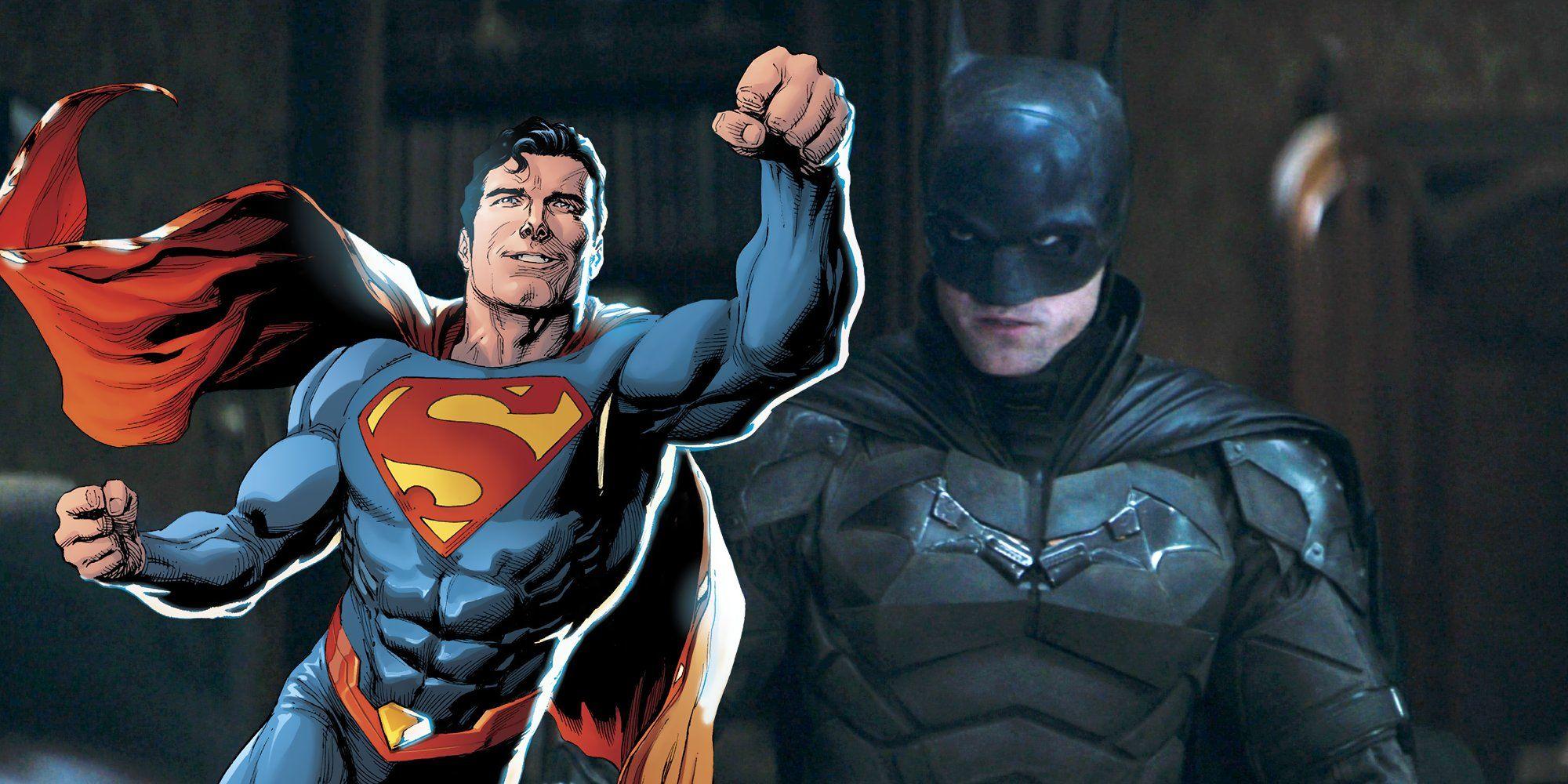 Robert Pattinson as Batman with DC Comics Superman in The Batman.'