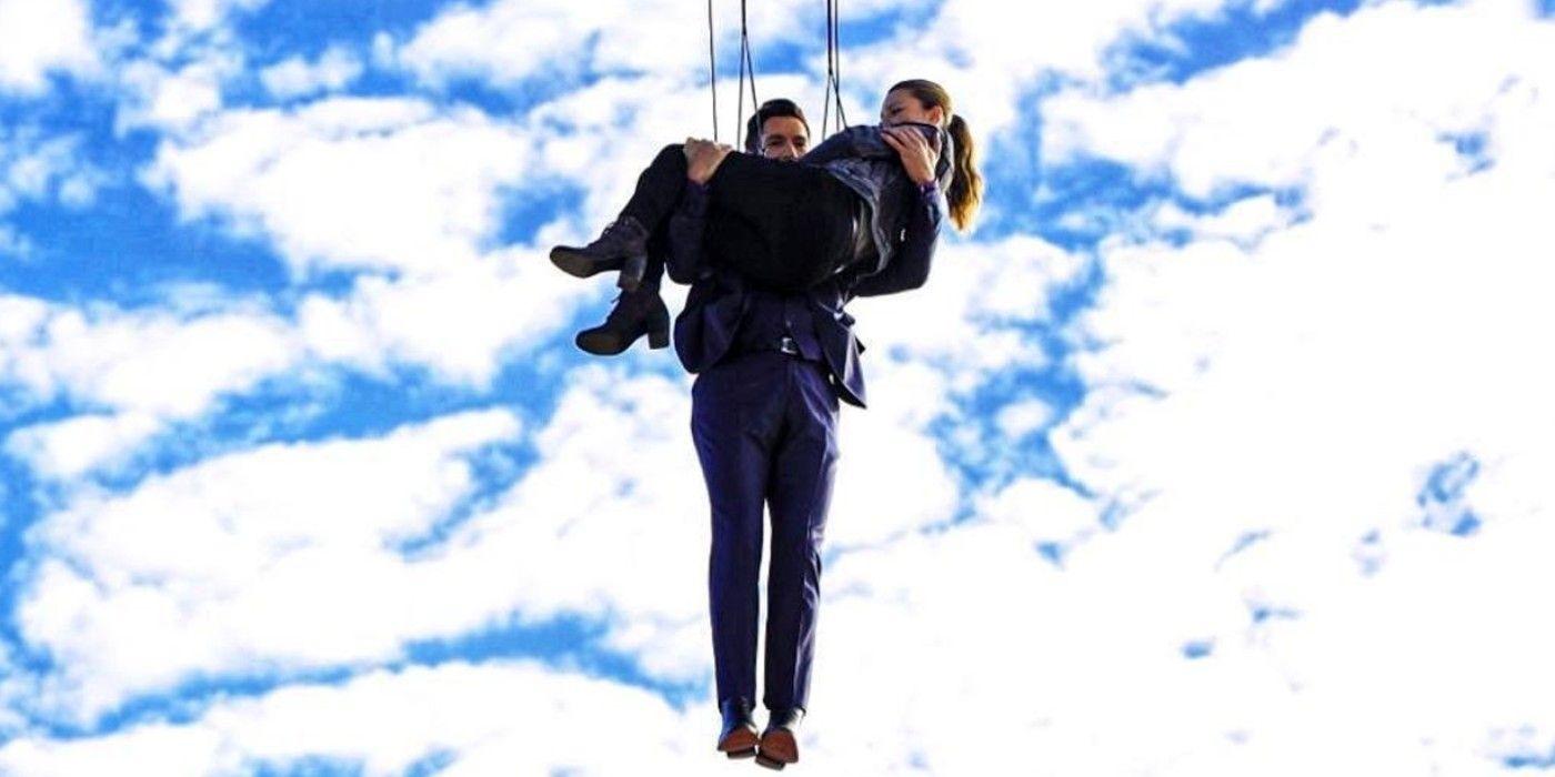Lucifer Season 6 Set Photo Has Tom Ellis Flying High for a Stunt