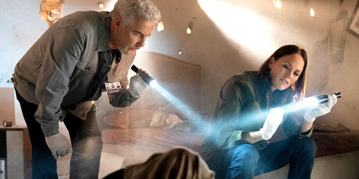CSI: Vegas Image Shows Grissom & Sarah Investigating a Trashed Crime Scene
